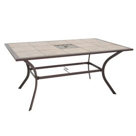 Captivating Garden Treasures Eastmoreland X Tile Top Textured Brown Steel Frame  Rectangle Patio Dining Table