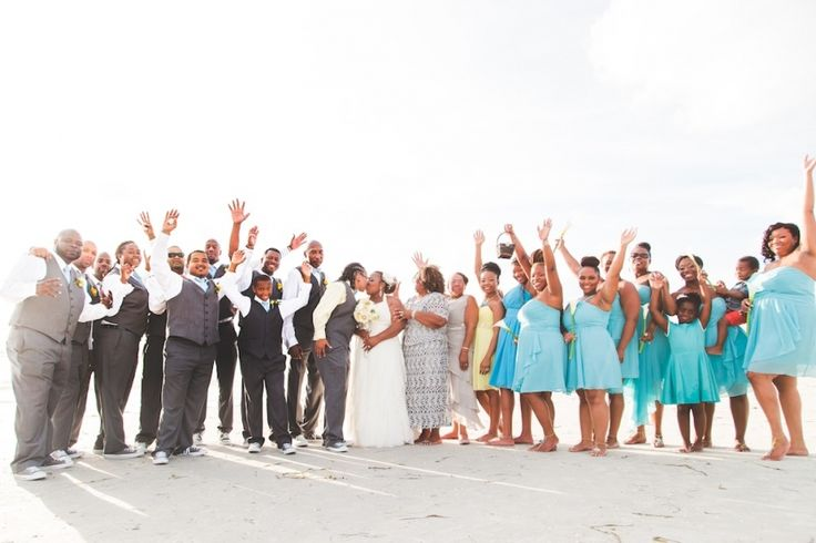 Beach bridal party turquoise bridesmaid dresses with for Beach wedding bridesmaid dresses pinterest