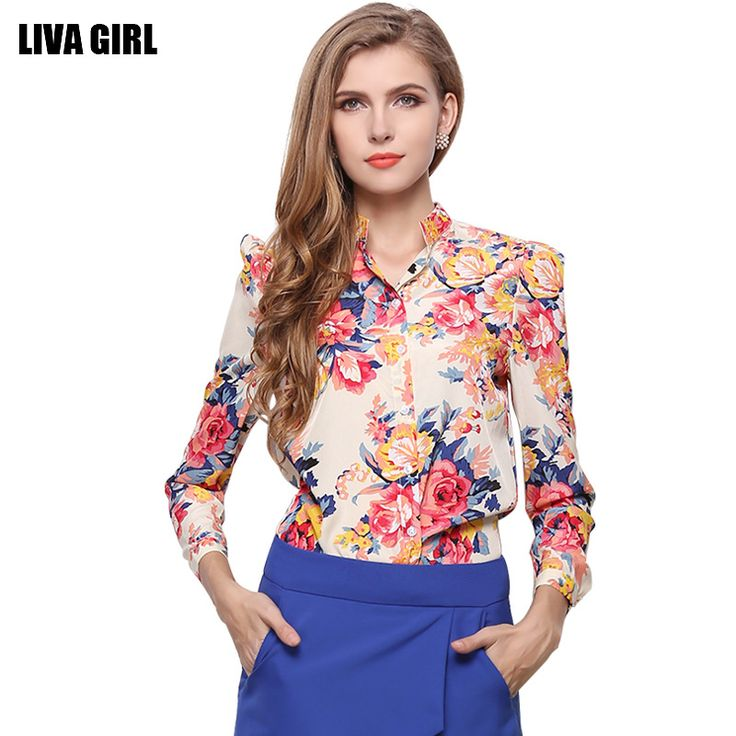 Women Summer Chiffon Shirt Floral Chiffon Blouse Female Sexy Long Sleeve Stand Casual Tops Ladies Flower Print Clothing Blusa -- This is an AliExpress affiliate pin.  Clicking on the image will lead you to find similar product on AliExpress website