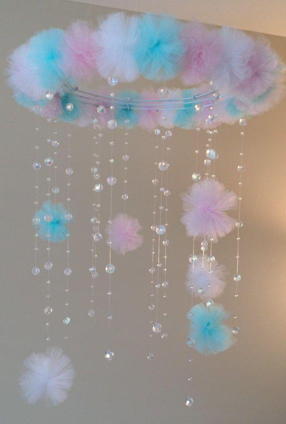 crystal baby mobile, princess baby mobile, princess decoration, tutu mobile, baby mobile, baby girl mobile, nursery decoration, baby girl