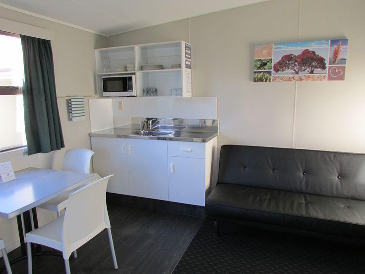Refurbished Kitchen Cabin interior, Cosy Corner Holiday Park, Mt Maunganui, New Zealand