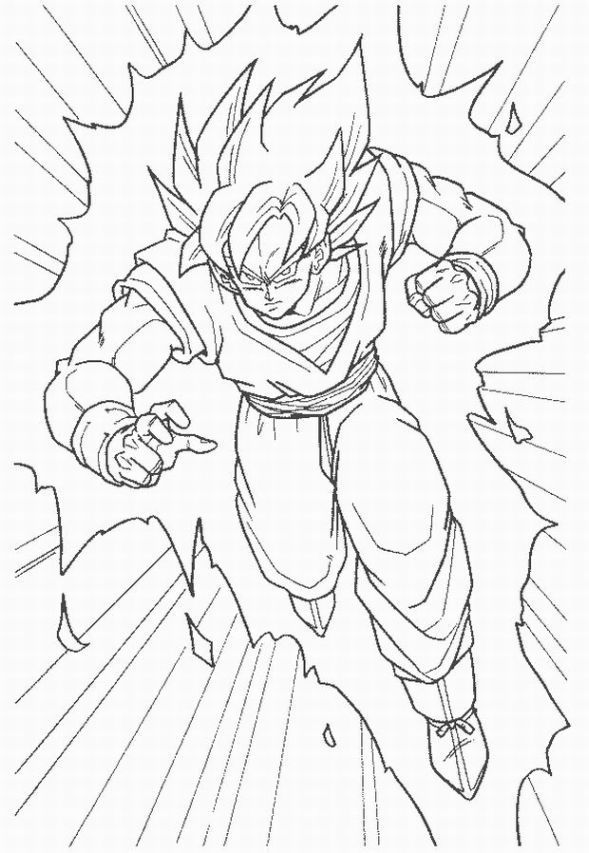 15 best coloring pages images on pinterest - Super Saiyan Goku Coloring Pages