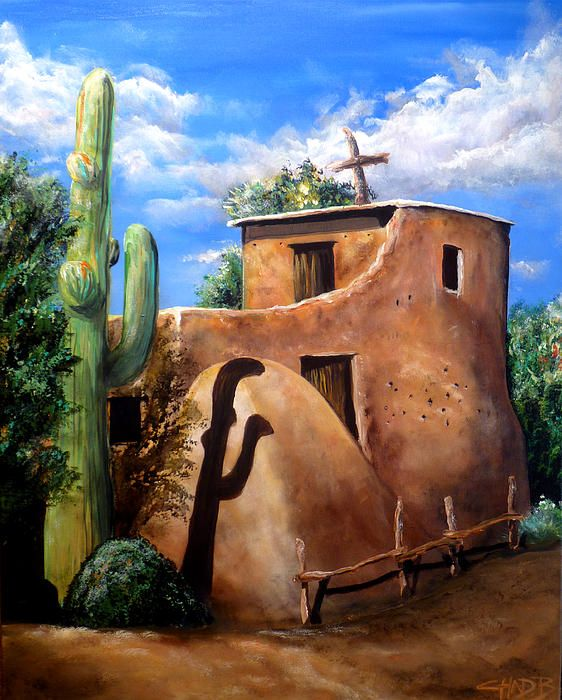"2014 acrylic on canvas painting by Chad Berglund titled ""Mission in the Sun"".  Southwestern artwork with a mission in Arizona."