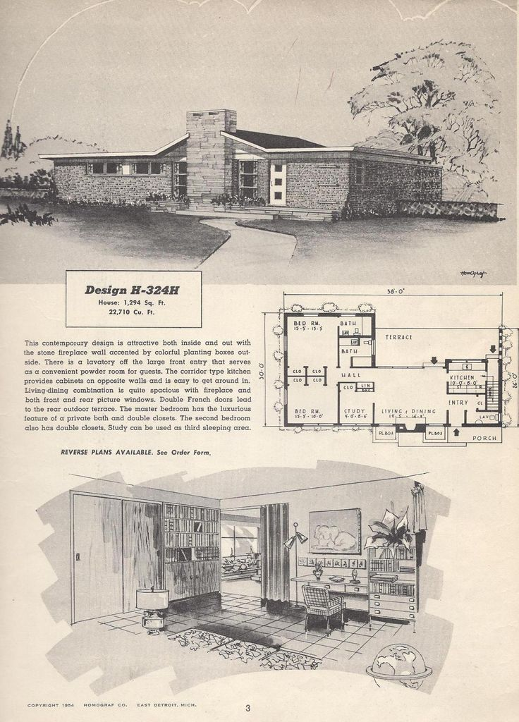 Vintage house plans 1950s houses mid century houses for Vintage ranch house plans