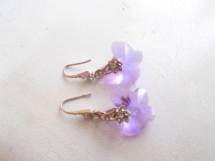 Swarovski Light Amethyst Crystal Butterfly Drop Earrings by RicePaperJewels on Etsy