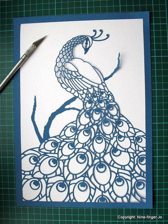 Tri-colour Papercutting Template, A4 | Peacock DIY Kit Papercutting Template | Papercut Art Peacock DIY Papercutting Pattern + Instructions