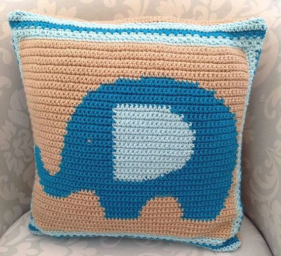 elephant pillow pattern, elephant cushion pattern, elephant pattern, crochet cushion pattern, crochet pillow, animal cushion, pattern