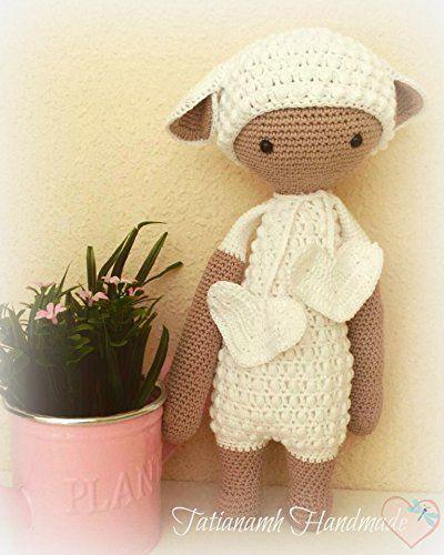 Oveja de peluche, cordero de peluche, amigurumi, regalo infantil, regalo para bebé, baby shower, Lalylala, muñeco a crochet