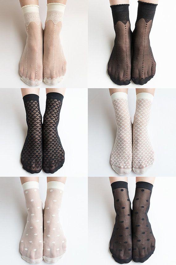 Women New Hezwagarcia Essential Mush Have Super Sheer Crown Polka Dot Triangle Pattern See Through Nylon Black Ivory 6 Stocking Socks Set