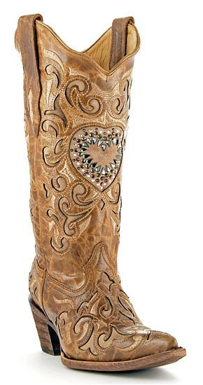 Brown Maipo cowboy boots with crystal heart (Corral Boots)