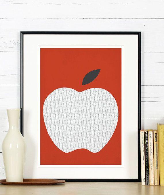 Fruit retro poster, kitchen art, red apple, minimalist design, kitchen picture, art print, vintage poster, wall hanging, Scandinavian art A3 on Etsy, $19.00