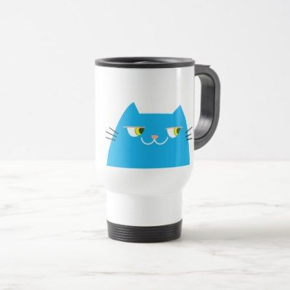 Cat Blue Bright Funny Good Person Cartoon Cool Travel Mug - good gifts special unique customize style