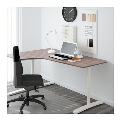 BEKANT Ecktisch links - grau/weiß - IKEA