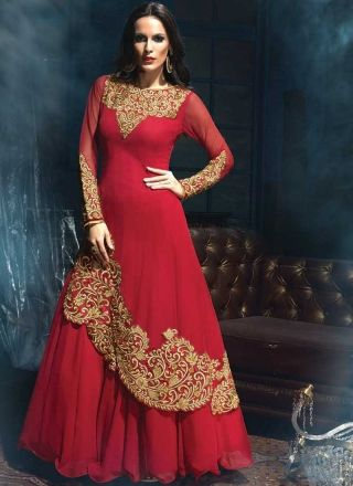 Red Embroidery Stone Work Dubble Layer Long Party Wear Anarkali Salwar Kameez http://www.angelnx.com/Salwar-Kameez/Anarkali-Suits