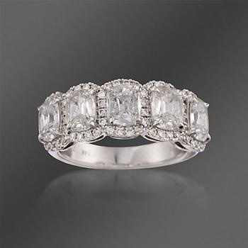 Henri Daussi Diamond 5-Stone Ring in White Gold. A perfect heirloom to pass on for generations, it brilliantly shines with love. #valentinesday #love Click on the ring to see more.
