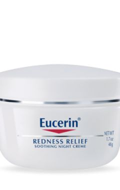 Recommended moisturizer sans SPF (for nighttime): Eucerin Redness Relief Soothing Night Creme. Not that I have rosacea, thankfully, but given the anti-inflammatory aspects (and that the recommended product from Aveeno no longer comes without SPF, and Aveeno's SPF ingredients irritate my skin), good option.