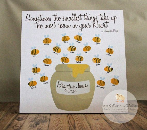 Fingerprint Bee Baby Shower Guest Book, Baby Shower Guest Book Alternative, Winnie The Pooh Baby Shower on Etsy, $25.95