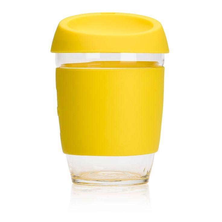 Gobelet réutilisable en verre de couleur jaune. En vente sur L'emballage Vert!