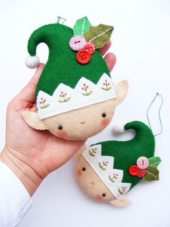 Patrón PDF Duende de la Navidad de fieltro adorno por iManuFatti:
