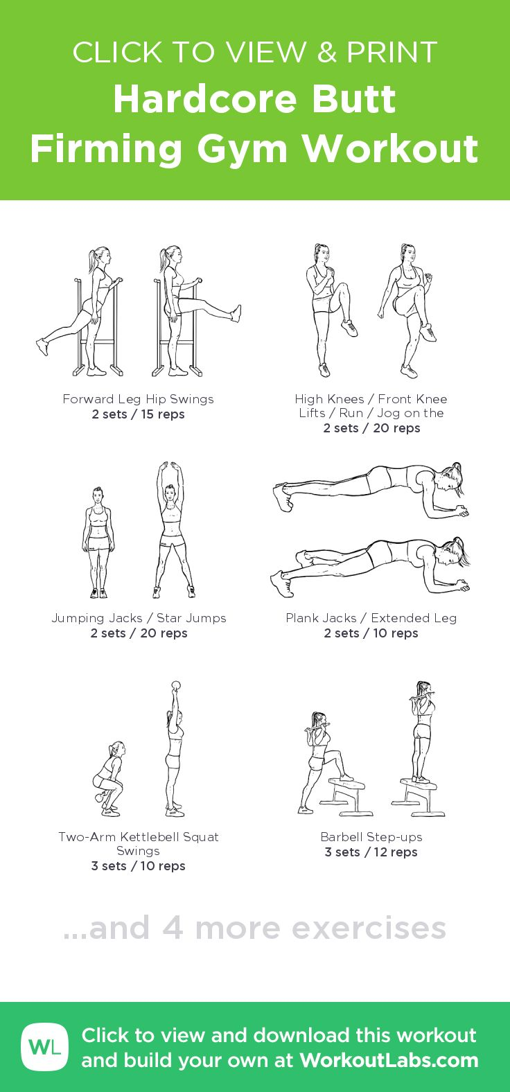 Hardcore Butt Firming Gym Workout –click to view and print this illustrated exercise plan created with #WorkoutLabsFit