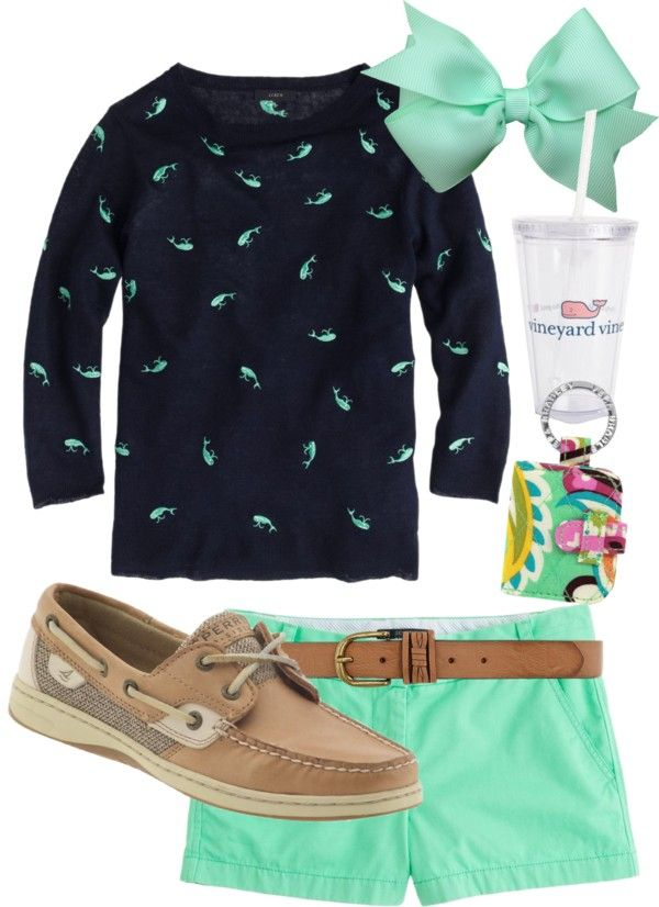 southernbombshell23: Whale sweater!! by preppyclothes featuring hair bow accessories ❤ liked on Polyvore J.Crew summer top / J.Crew short shorts / Sperry Top-Sider leather shoes / Hair bow accessory / Vera Bradley / Dorothy Perkins / vineyard vines Tumbler