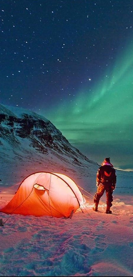 Camping under the Aurora Borealis in Norway