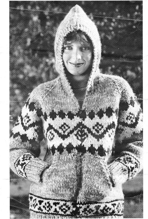 Cowichan/White Buffalo Hoody Sweater Knitting by KilbellaVintage, $2.50