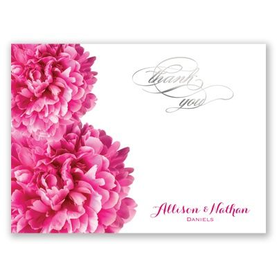 Posh Peonies Foil Thank You Card and Envelope by David's Bridal. #thankyoucards #bridalshower #weddings #davidsbridalThankyoucard Bridalshower