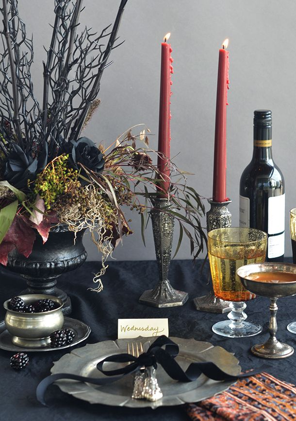 addams family inspired halloween table setting camille styles - Halloween Table Decor