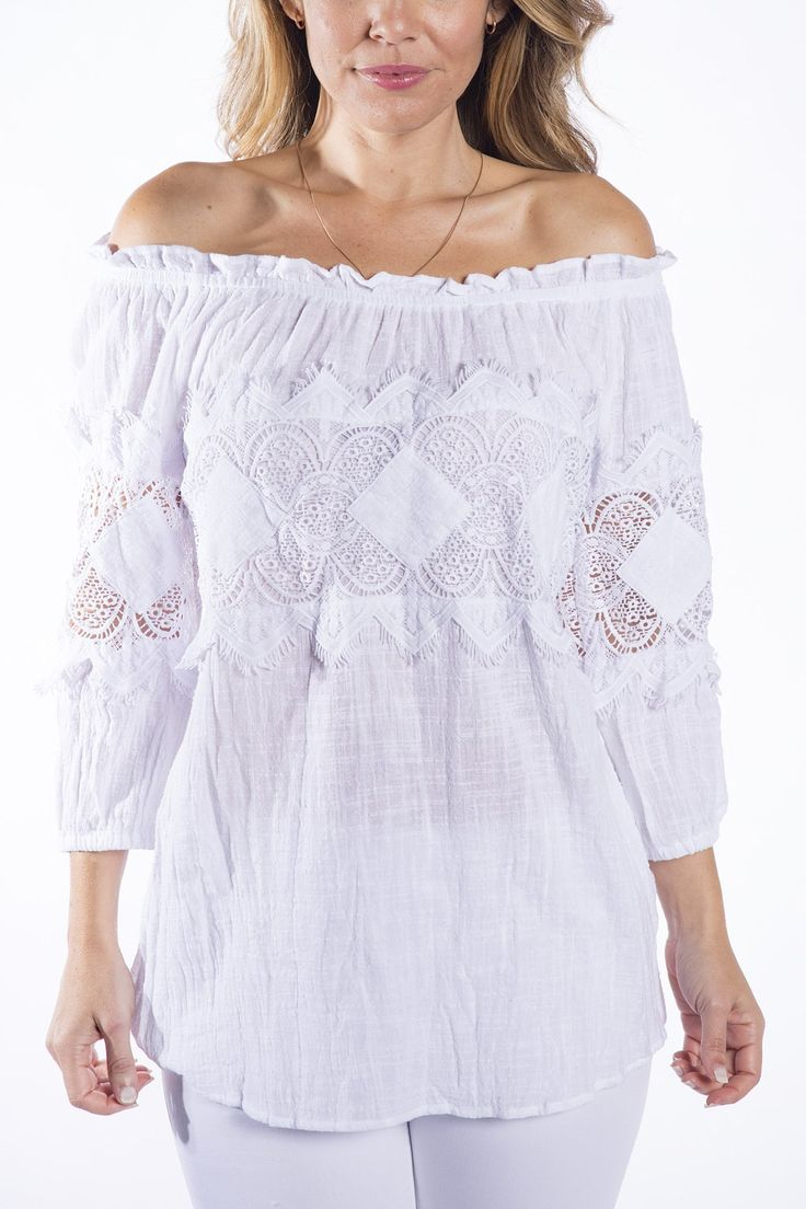 Cafe Latte - Amalfi White Crochet Top - Clw828