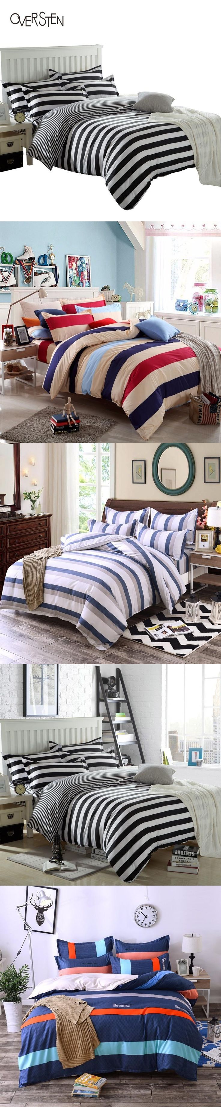 oversten brief style double single bedding set queen twin king size duvet cover set stripes pattern