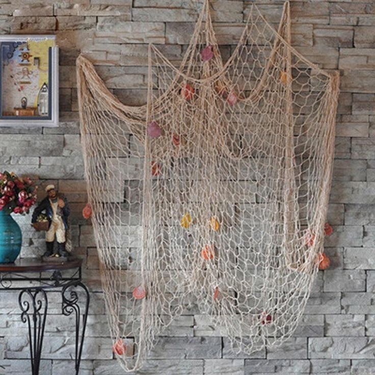 Nautical Fishing Net Seaside Wall Beach Party Sea Shells Home Garden Decor in…