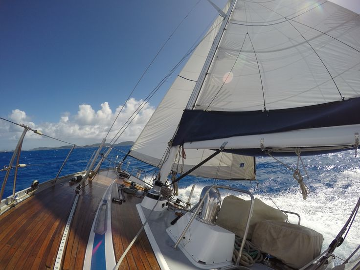 Sailing, Virgin Gorda, BVI on a classic Swan Yacht