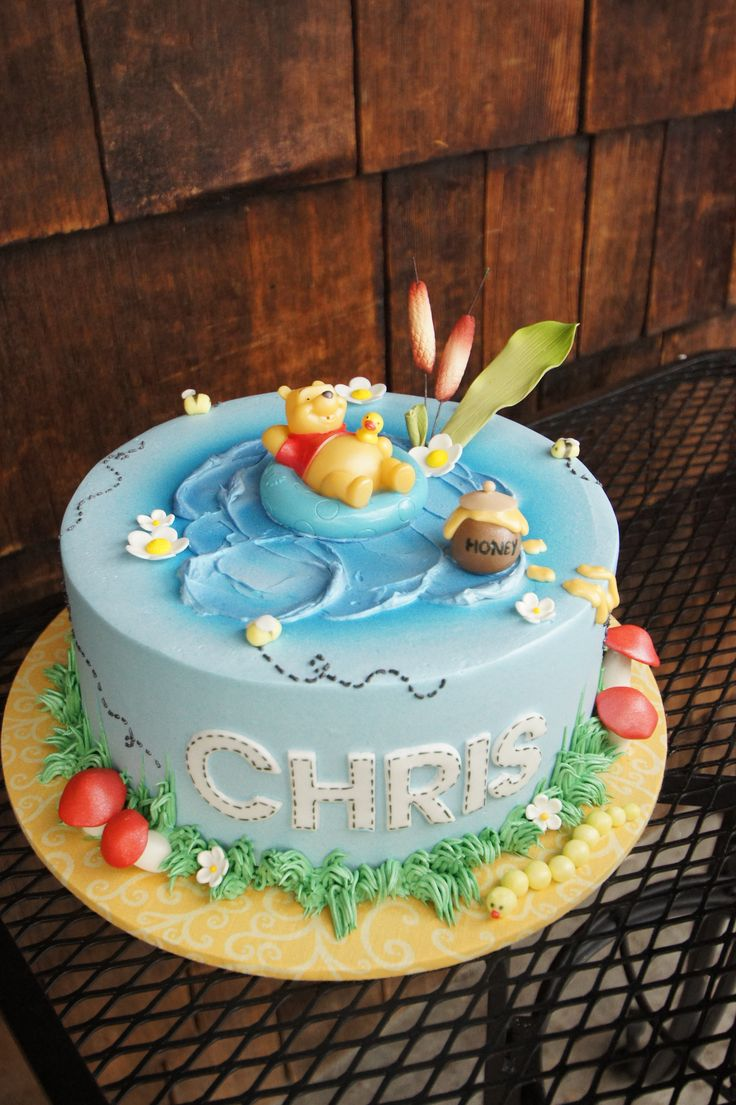 Blue Winnie The Pooh Themed Birthday Cake Children S