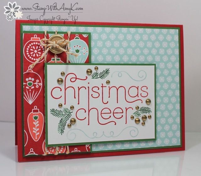 Cheerful Christmas - Stampin' Up! - Stamp With Amy K....love the way she added the gold to the rhinestones - embossing!