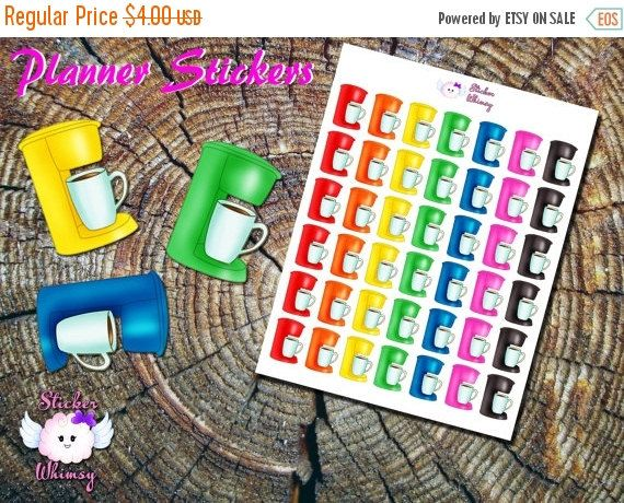 JAN 25% SALE Coffee Maker Planner Stickers, Coffee Stickers, Cute Stickers, Beverage Stickers, Erin Condren, Functional, Reminder, Colorful by StickerWhimsy1004 on Etsy