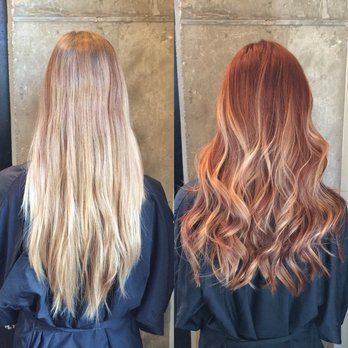 Blonde to red hair makeover; copper gold balayage ombre highlights