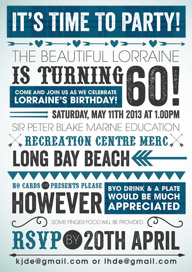 60th Birthday Invite - kinda cool, maybe less girly without the hearts... Like the byob idea.