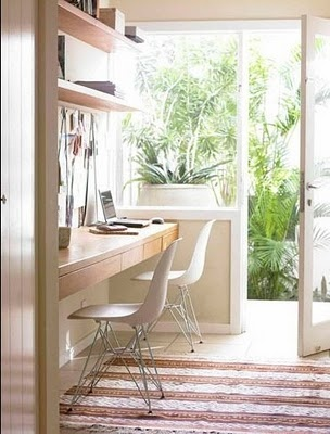 floating desk; white Eiffel Chairs; home office