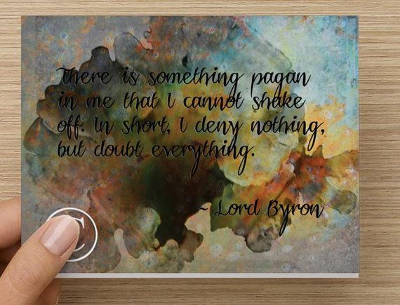 Lord Byron Pagan Quote Notecard Set by DesignDivergent on Etsy, $15.00