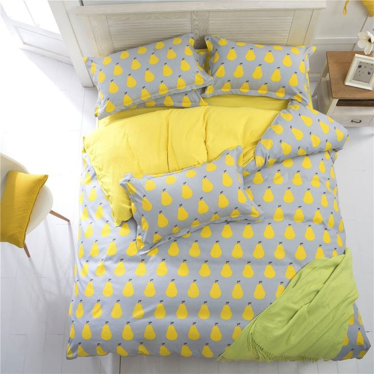 EsyDream King Queen Twin Size Yellow Pineapple Pears Prints Kids Duvet Cover Sets 4PC/Set No Quilt,Twin Size 4PC Set //Price: $60.59 & FREE Shipping //     #bedding sets