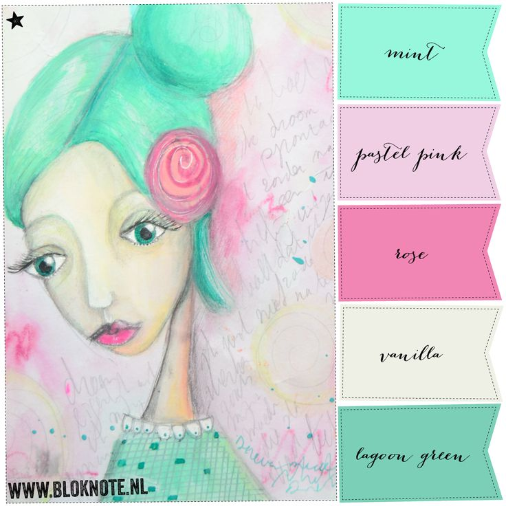 Bloknote | Blognotes by Marieke Blokland: Productive art journaling day with Pink & Mint Green colors