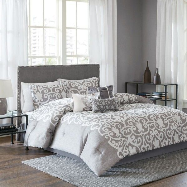 Lotus Comforter Set in Grey/White ($100) ❤ liked on Polyvore featuring home, bed & bath, bedding, comforters, cal king comforter, queen comforter set, california king comforter sets, twin comforter sets and white comforter