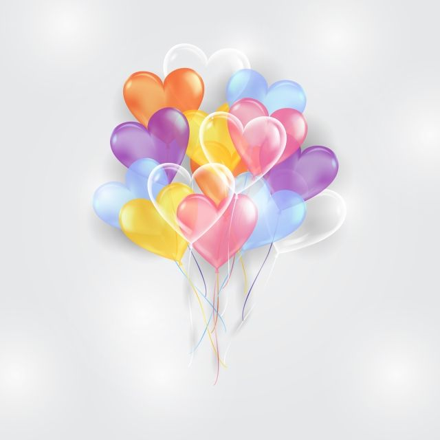 Colorful Balloons Background With Heart Shape Happy Party Png