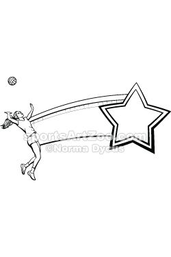 Sports Art Zoo - Female Volleyball Player Net and Star #volleyball #sportsartzoo