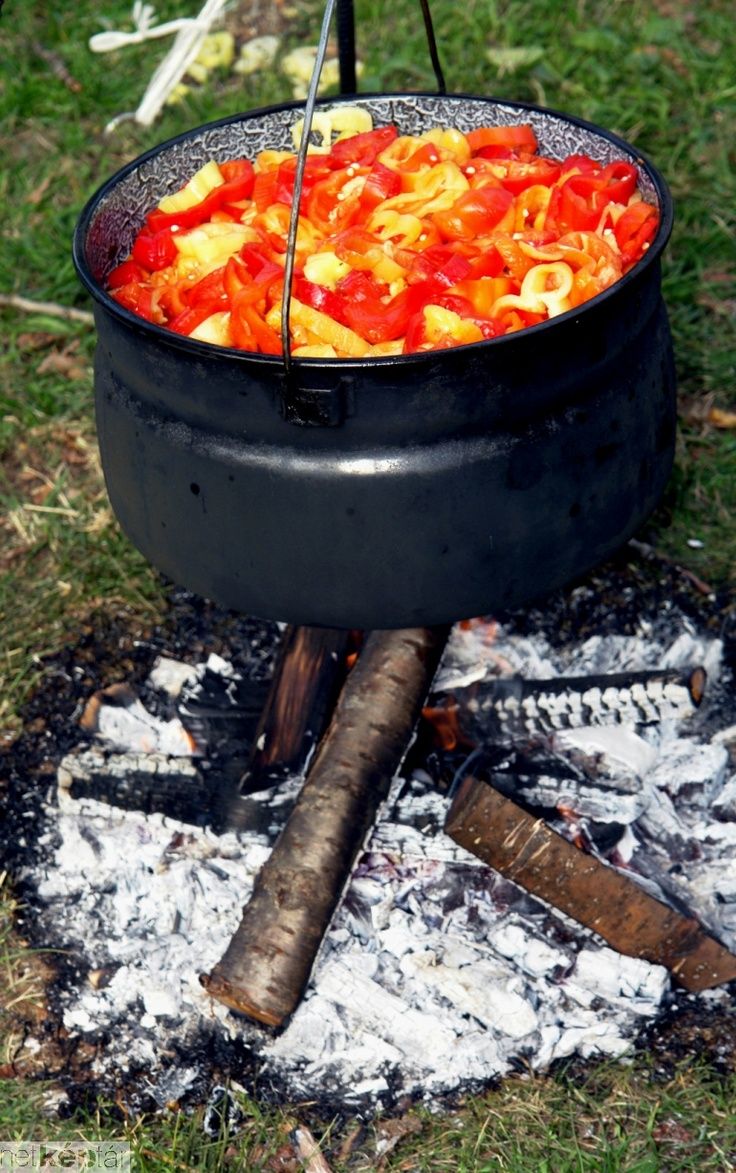 Lecsó is a ragout of tomatoes and peppers, often cooked over an open fire. It is sometimes quite fiery, when slices of spicy sausage are added.
