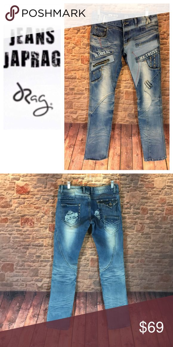 """☮️Men's Japan Rags Slim Fit denim jean size 32 ☮️Men's Japan Rags Slim Fit denim jean size 32  Measurements are approximate  Inseam 32"""" Rise 7 1/2"""" Leg width opening is 7"""" wide  Waist laying flat 15 1/2"""" across  Unique pair of Japan Rag jeans from Okishana Samoki available for purchase. If you love unique and standing out in a crowd then these jeans will definitely do that! I know because I have a pair and always get second looks and compliments! Detailing throughout jean Japan Rags Jeans…"""