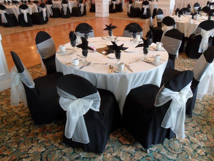 Black Chair Covers Available For Rent With Ivory Bows In Long Beach    Special Event Linens