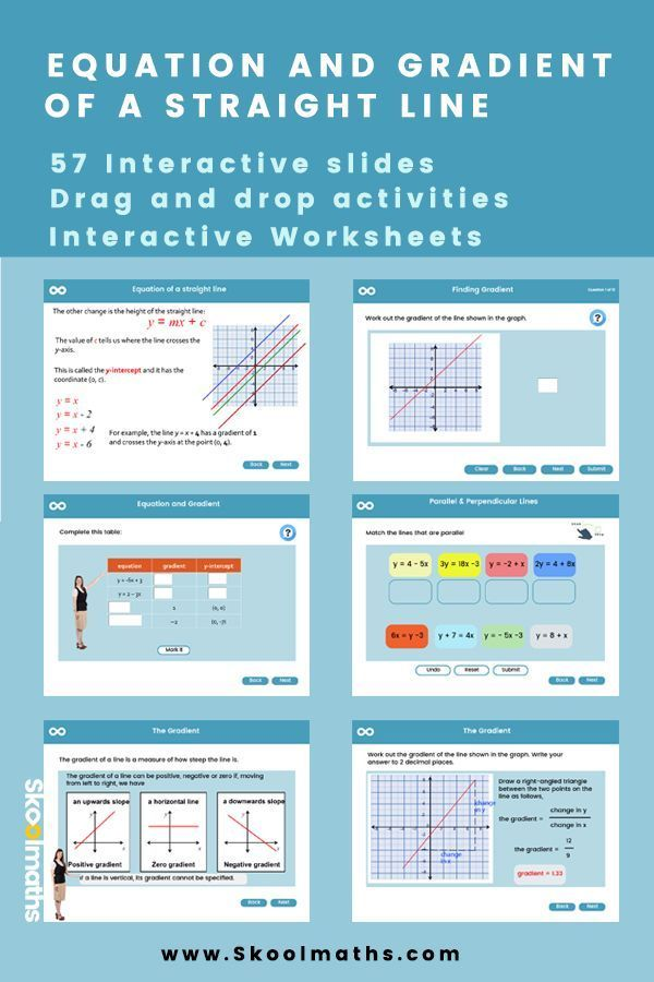 Equation And Gradient Of A Straight Line Gcse Gcse Math Gcse Maths Revision Interactive Lessons