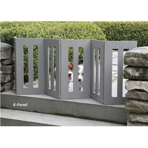 """6 Panel Backyard Outdoor Dog Gate, also in """"off"""" white for the patio where Mishka can escape under the gate"""